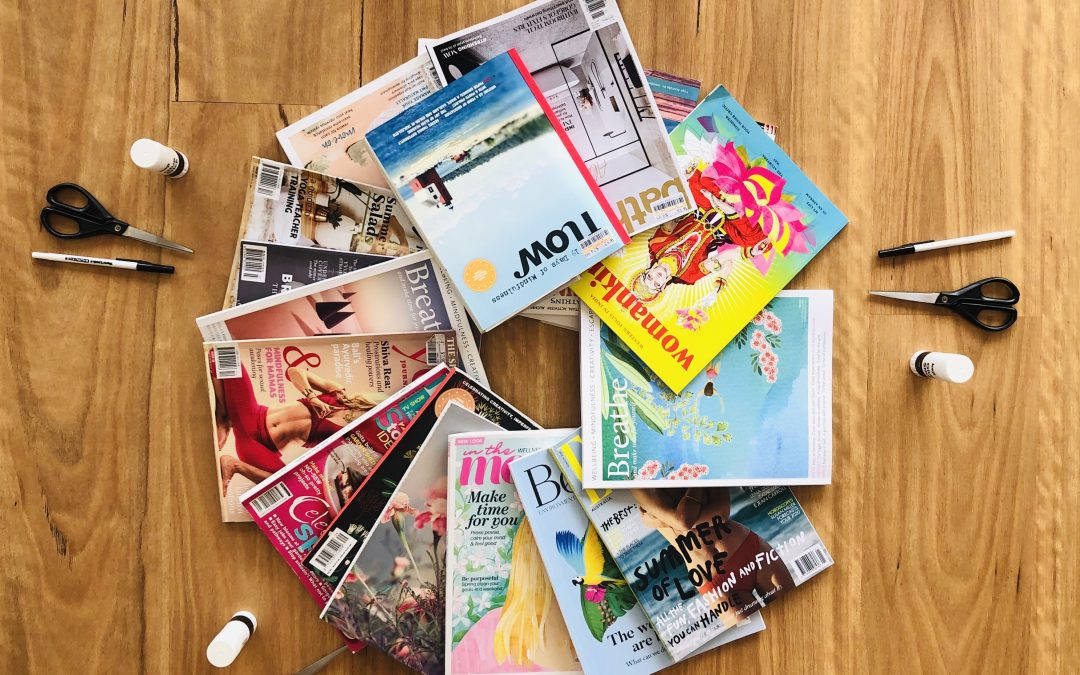 A mandala of magazines ready for vision boarding